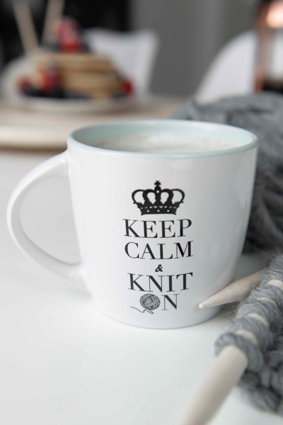 "Bild på Stickkopp ""keep calm and knit on"""